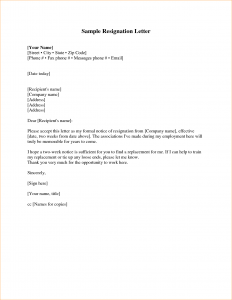 proposal letter sample week notice resignation