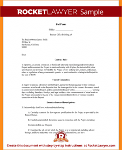 proposal letter sample sample bid proposal sample bid form form template