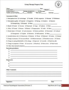 psychotherapy progress note template pdf grop therapy progress note template excel