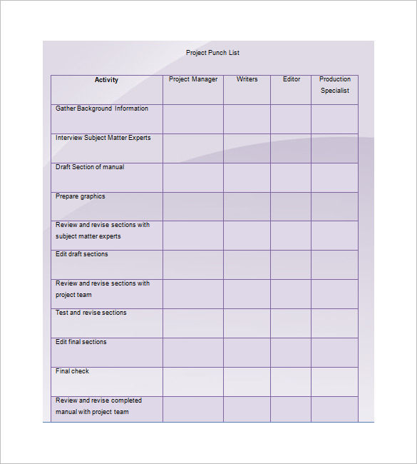 punch list template