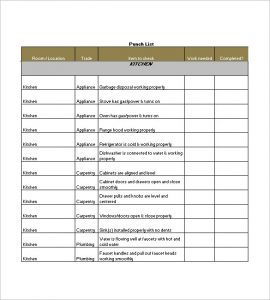 punch list template sample punch list template