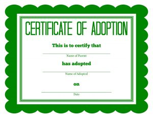 puppy birth certificate adoption certificate green