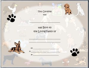 puppy birth certificates newdogbackgroundblanknofoillandsa