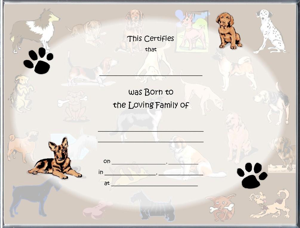 puppy birth certificates