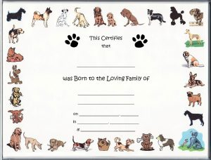 puppy birth certificates cartoondogsblanknofoillandsa