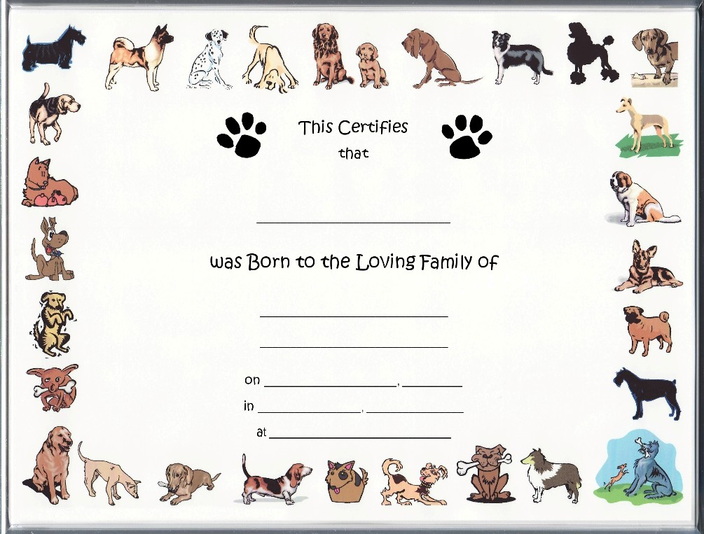puppy birth certificates