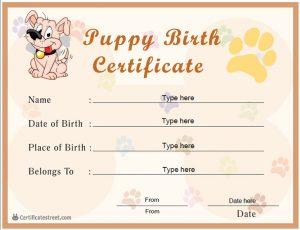puppy birth certificates certificatestreet sc