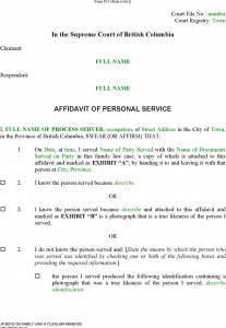 purchase agreement sample british columbia affidavit of personal service form