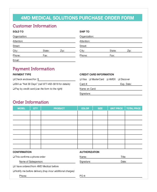 Purchase Order Form  Template Business