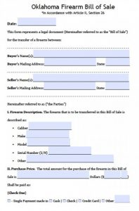 purchase order forms oklahoma firearm bill of sale form x