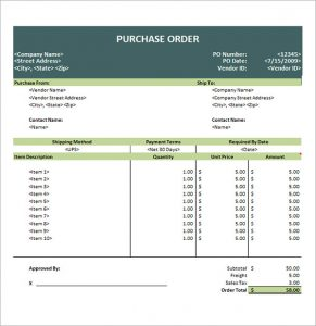 purchase order sample international purchase order template