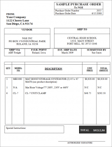 purchase order sample sampleofpurchaseorder