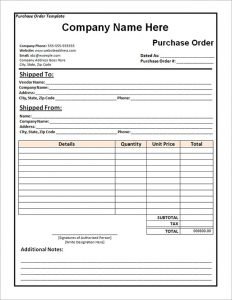 purchase order template word free purchase order template word