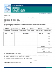 purchase order template word purchase order template word