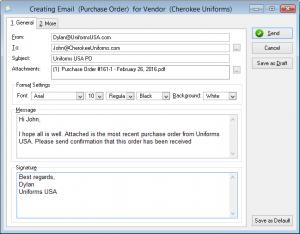 purchasing order sample sample po email