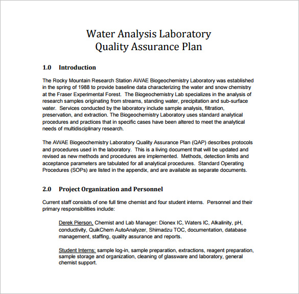 Quality assurance plan template business for Free quality assurance policy template