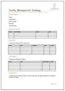 quality control plan template quality managment strategy