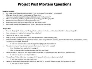 questionnaire template word project post mortem questions n