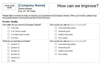 questionnaires templates word customer service survey template