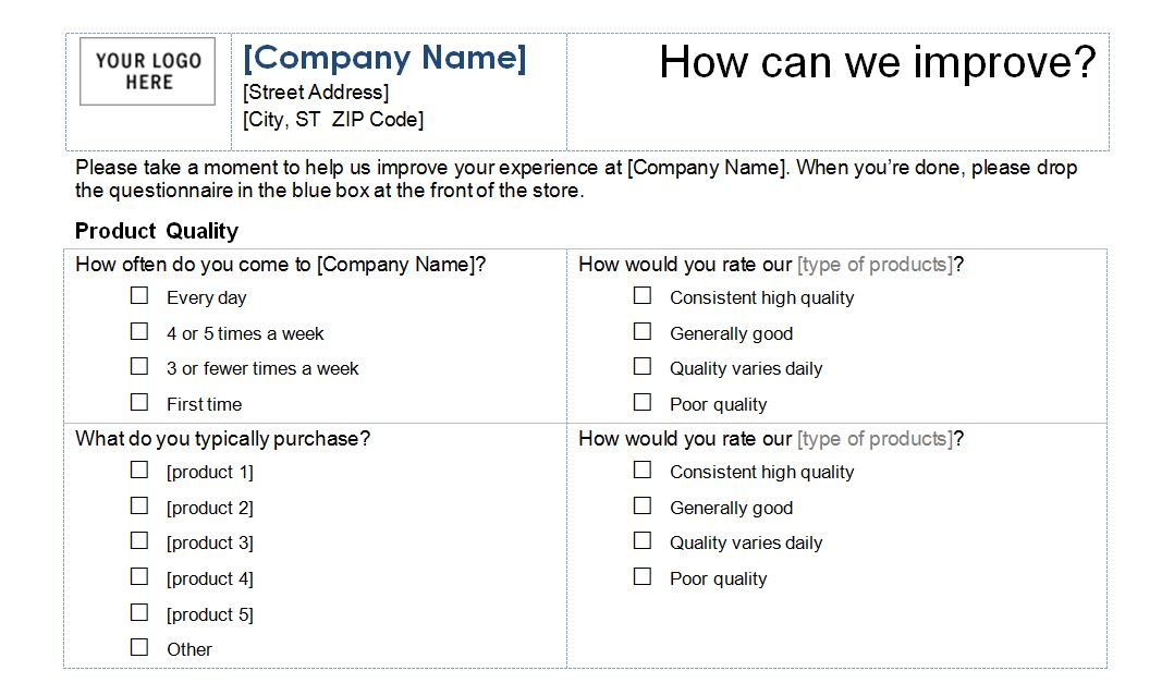 questionnaires templates word