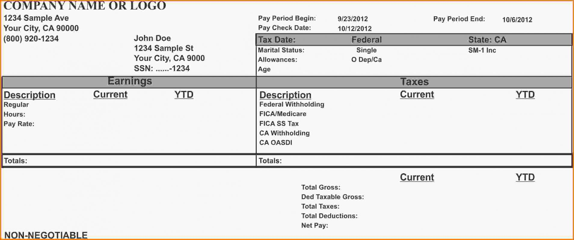 quickbooks pay stub template