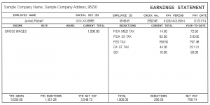 quickbooks pay stub template sample pay stub