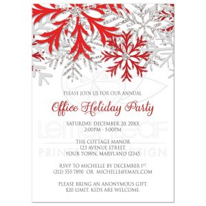 quinceanera invitations templates rectangle snowflake red winter holiday party invitations