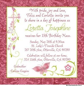 quinceanera invitations templates chic butterfly th birthday mass invitation pink green girl cross