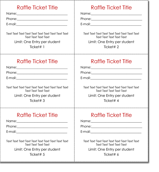 Raffle tickets template template business for Entry tickets template