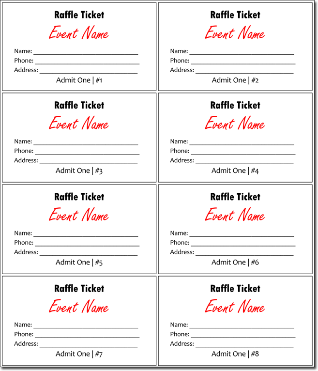 Raffle tickets template template business for Free printable raffle ticket template