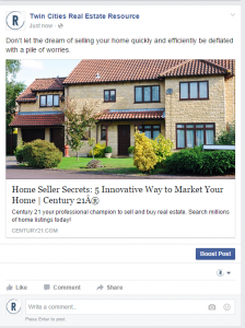real estate landing page facebookadvertising screen shot of c fb advert