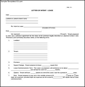 real estate letter of intent sample blank letter of intent real estate lease download