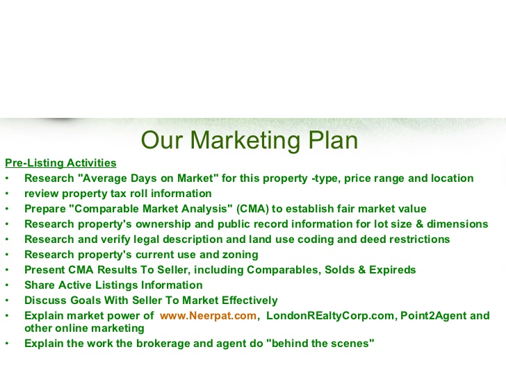 Real estate listing marketing plan template business for Commercial real estate marketing plan template