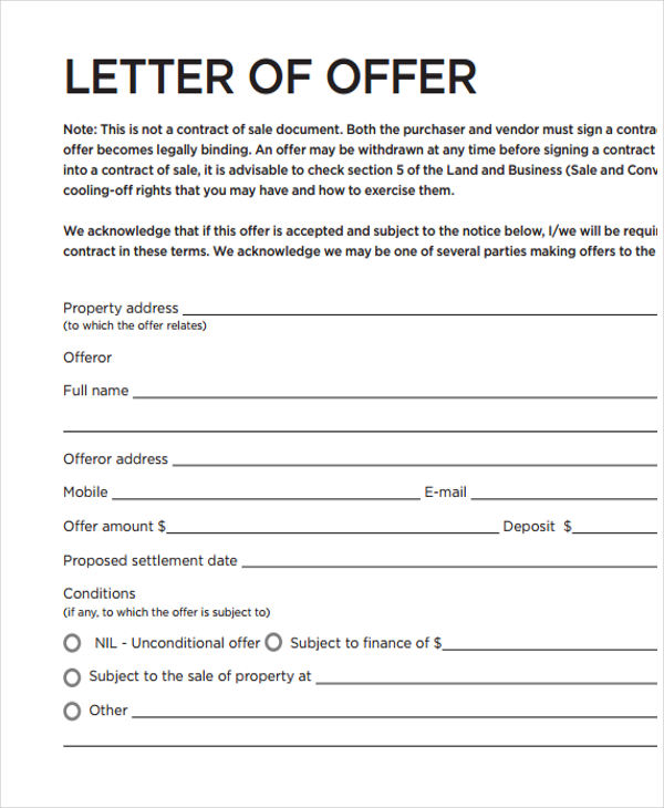 Real estate offer letter template business for Offer to purchase contract template