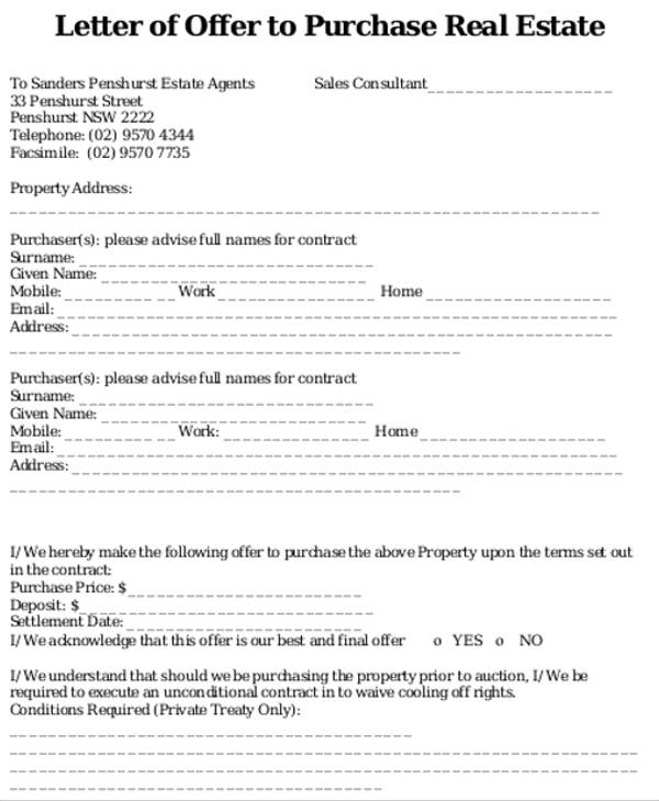 real estate offer letter
