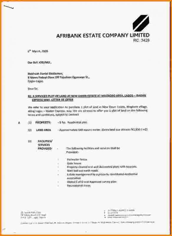 Real Estate Offer Letter  Template Business
