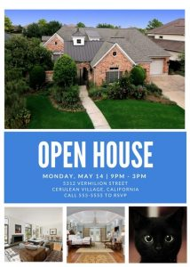 real estate open house flyer vermilion streetcerulean village californiacall to rsvp
