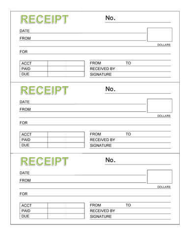 receipt book template
