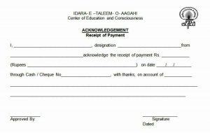 receipt for rent acknowledgement of payment receipt