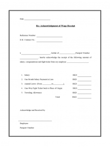 receipt for rent acknowledgment of wage receipt d