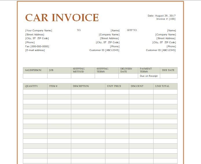 receipt template doc