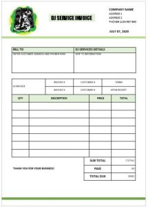 receipt template doc dj invoice template