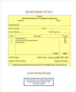 receipt template pdf professional fee receipt