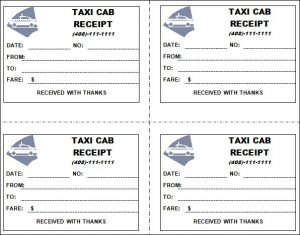 receipt template pdf taxi receipt image