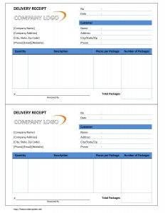 receipt template word delivery receipt
