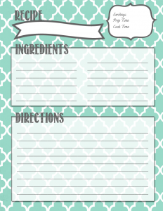 recipe book template recipe