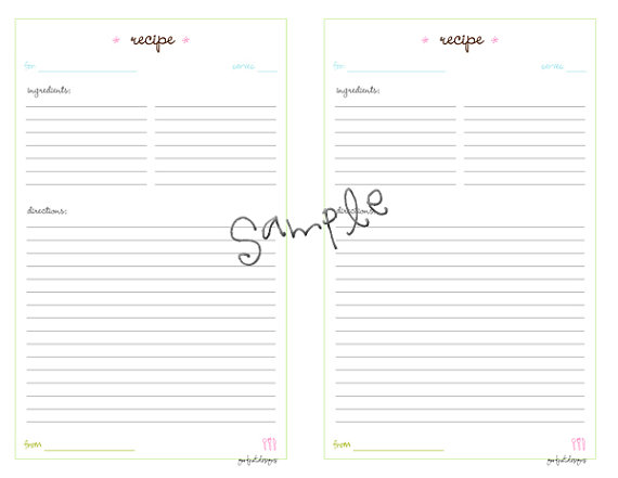 recipe card templates for word