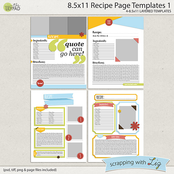 recipe page templates