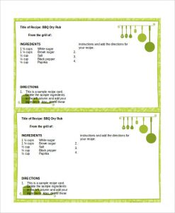 recipe template for word recipe card template for word
