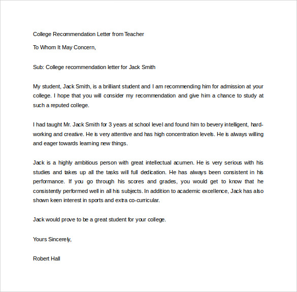 Recommendation letter for college template business recommendation letter for college expocarfo